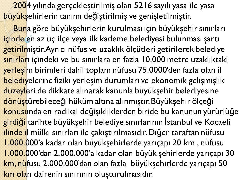 2004 yılında gerçekleştirilmiş olan 5216 sayılı yasa ile yasa büyükşehirlerin tanımı değiştirilmiş ve genişletilmiştir.