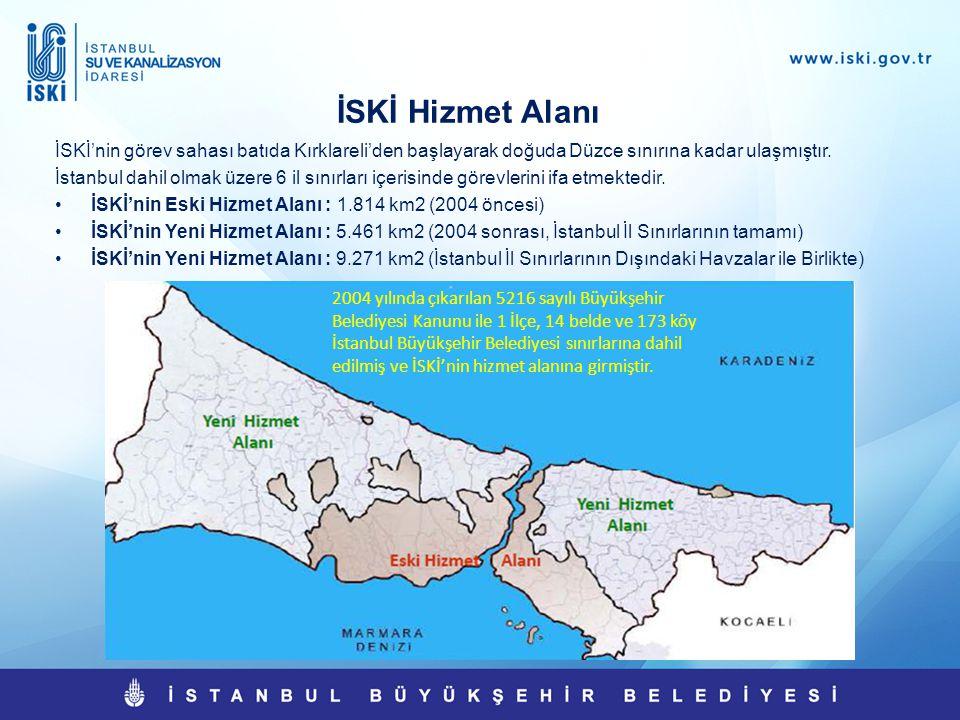 İSKİ Hizmet Alanı İSKİ'nin görev sahası batıda Kırklareli'den başlayarak doğuda Düzce sınırına kadar ulaşmıştır.