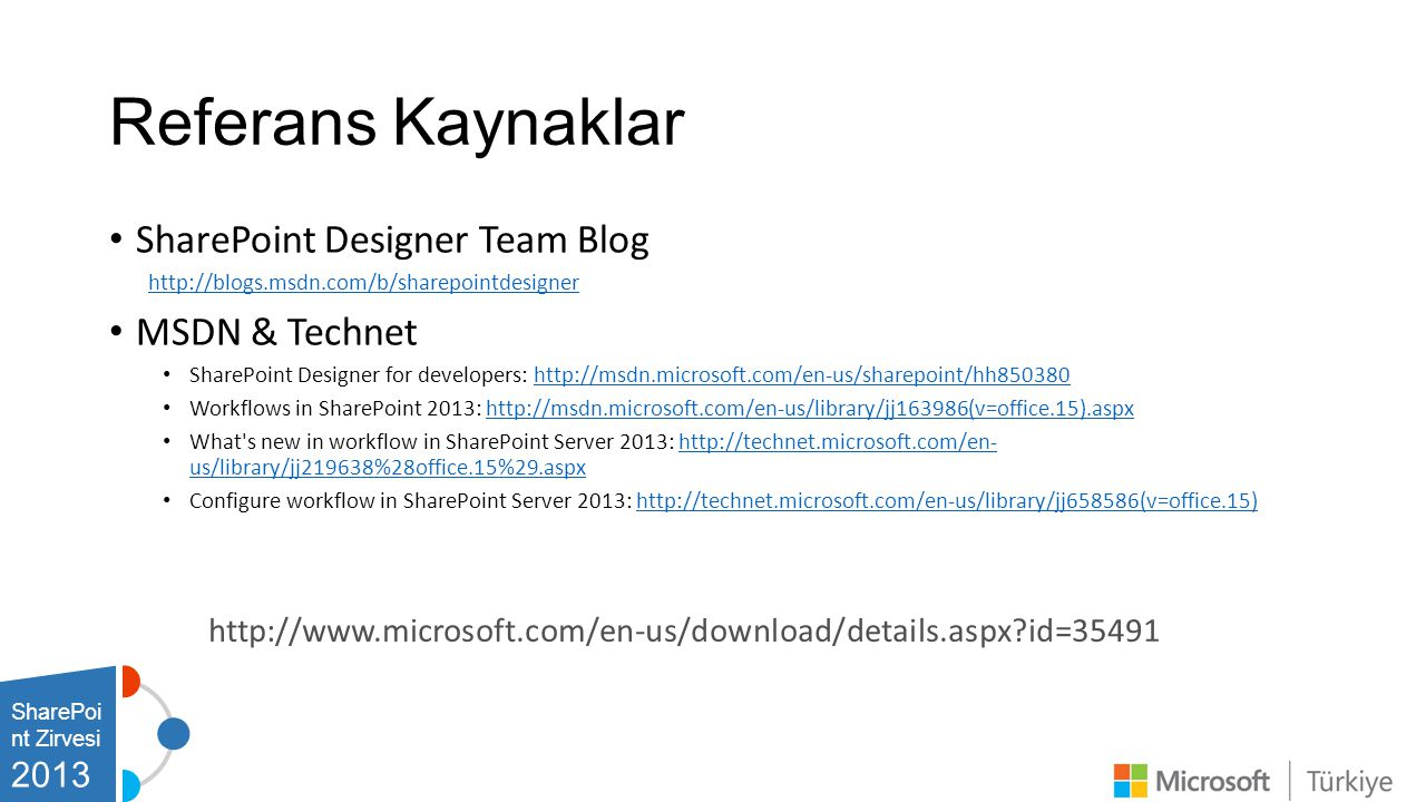 Referans Kaynaklar SharePoint Designer Team Blog MSDN & Technet 2013