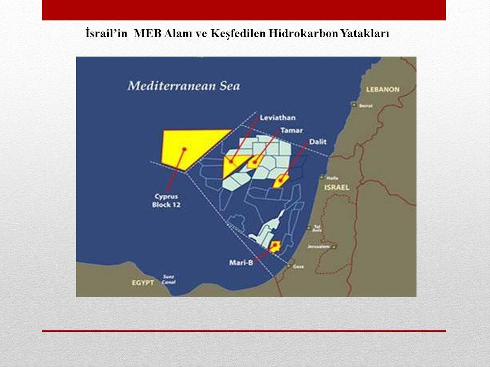 İsrail'in MEB Alanı ve Keşfedilen Hidrokarbon Yatakları