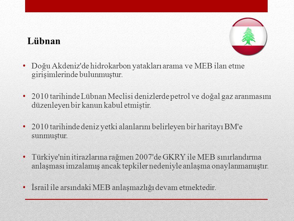 Lübnan Doğu Akdeniz de hidrokarbon yatakları arama ve MEB ilan etme girişimlerinde bulunmuştur.
