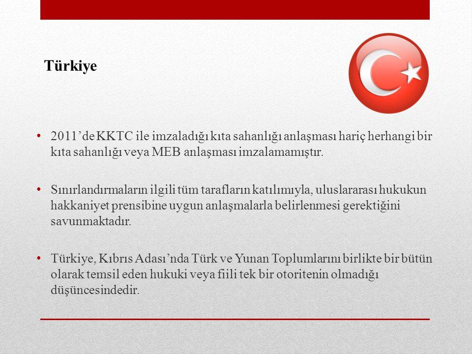 Türkiye 2011'de KKTC ile imzaladığı kıta sahanlığı anlaşması hariç herhangi bir kıta sahanlığı veya MEB anlaşması imzalamamıştır.