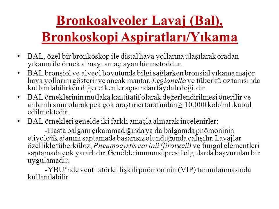 Bronkoalveoler Lavaj (Bal), Bronkoskopi Aspiratları/Yıkama