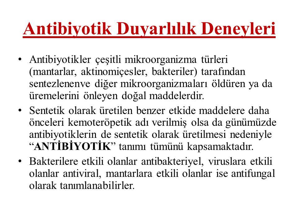 Antibiyotik Duyarlılık Deneyleri