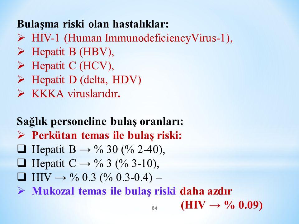 Bulaşma riski olan hastalıklar:
