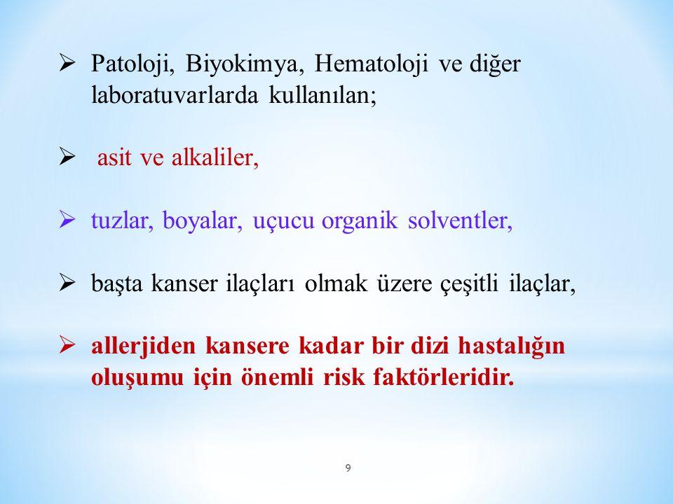Patoloji, Biyokimya, Hematoloji ve diğer laboratuvarlarda kullanılan;