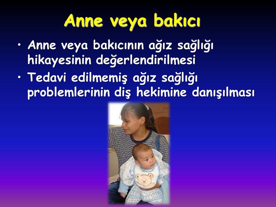 Anne veya bakıcı Anne veya bakıcının ağız sağlığı hikayesinin değerlendirilmesi.