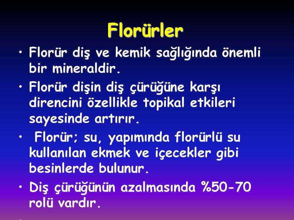 Florürler Florür diş ve kemik sağlığında önemli bir mineraldir.