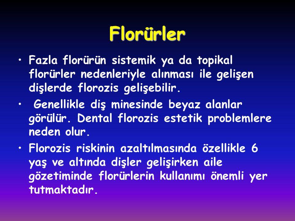 Florürler Fazla florürün sistemik ya da topikal florürler nedenleriyle alınması ile gelişen dişlerde florozis gelişebilir.