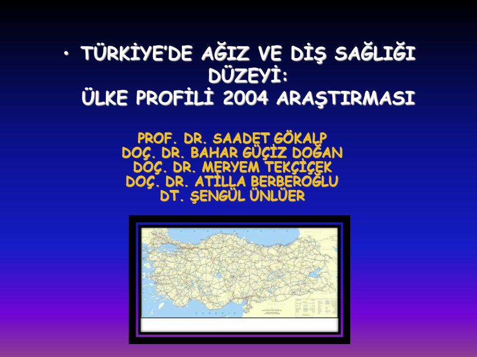 TÜRKİYE'DE AĞIZ VE DİŞ SAĞLIĞI DÜZEYİ: ÜLKE PROFİLİ 2004 ARAŞTIRMASI