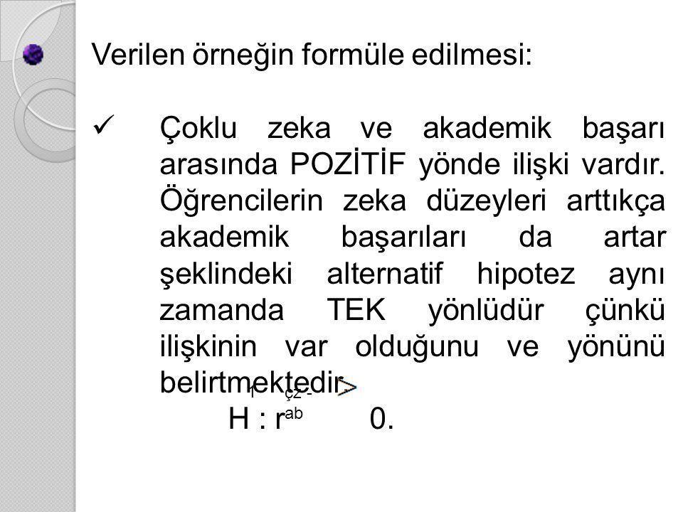 Verilen örneğin formüle edilmesi: