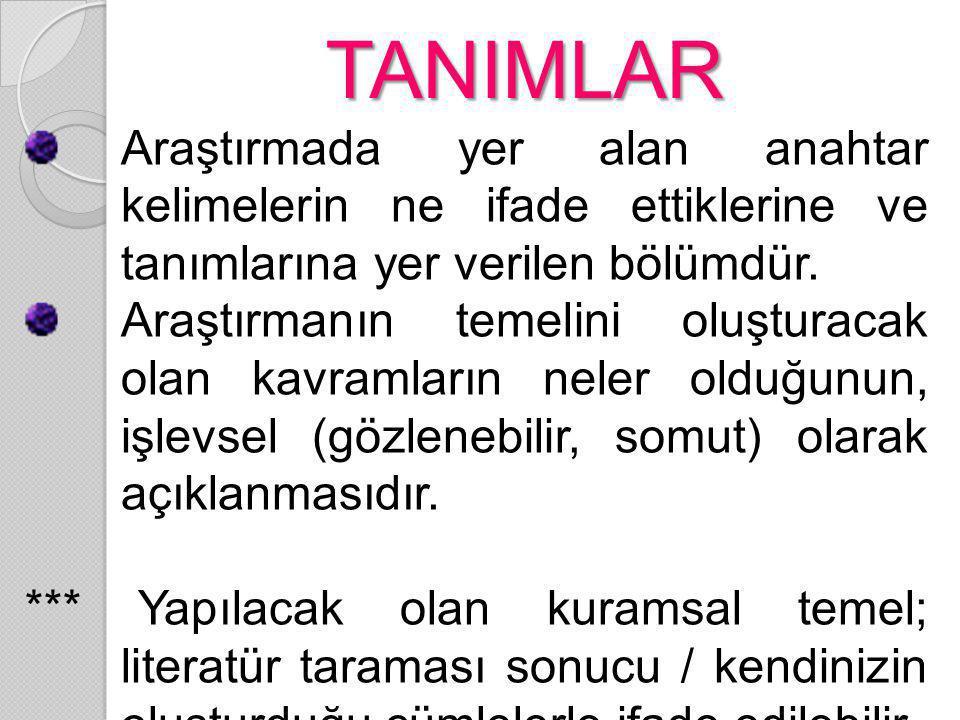TANIMLAR Araştırmada yer alan anahtar kelimelerin ne ifade ettiklerine ve tanımlarına yer verilen bölümdür.