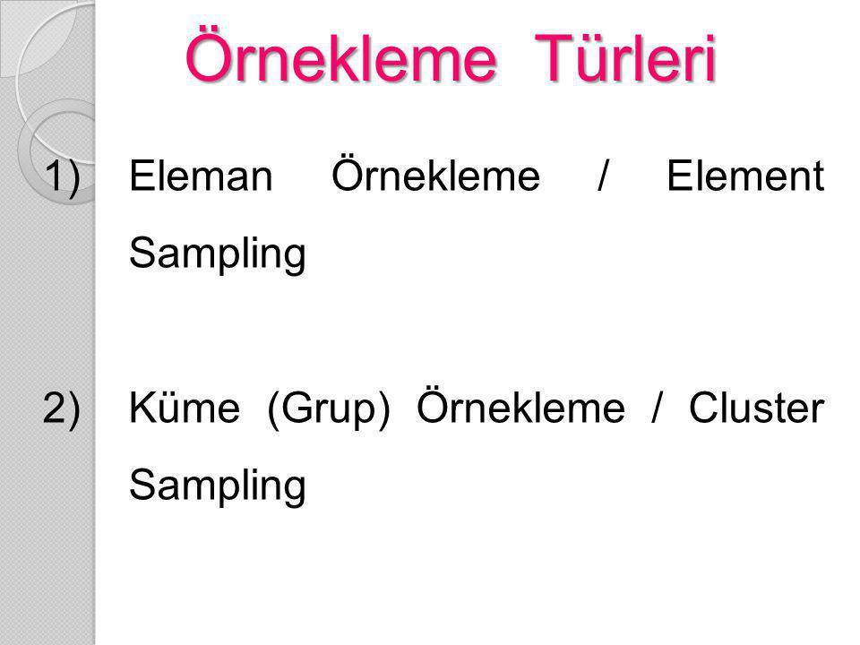 Örnekleme Türleri Eleman Örnekleme / Element Sampling