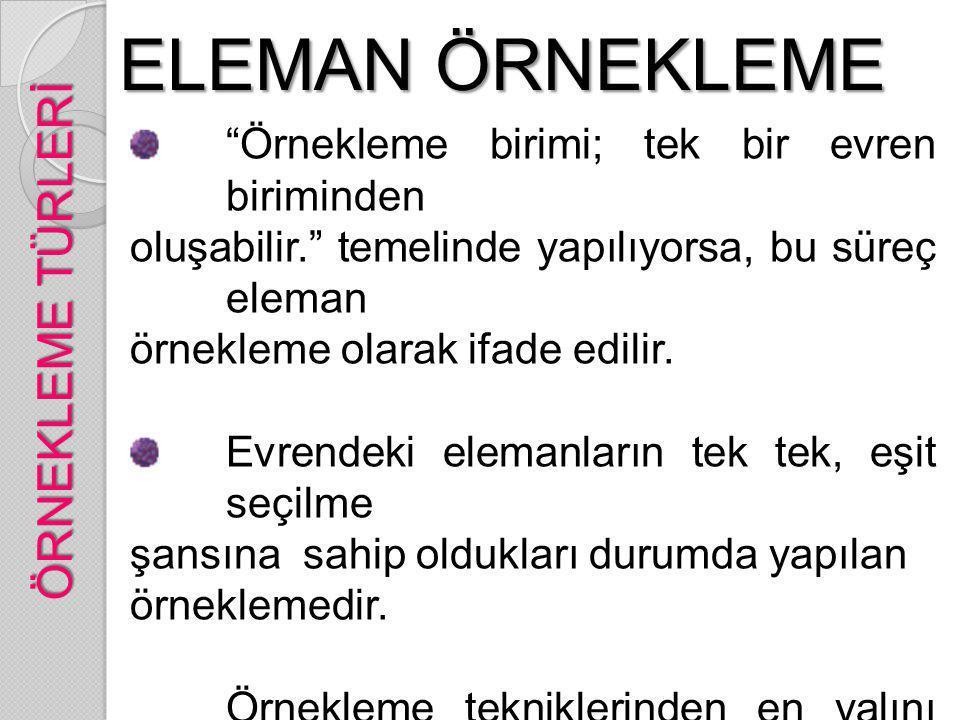 ELEMAN ÖRNEKLEME ÖRNEKLEME TÜRLERİ