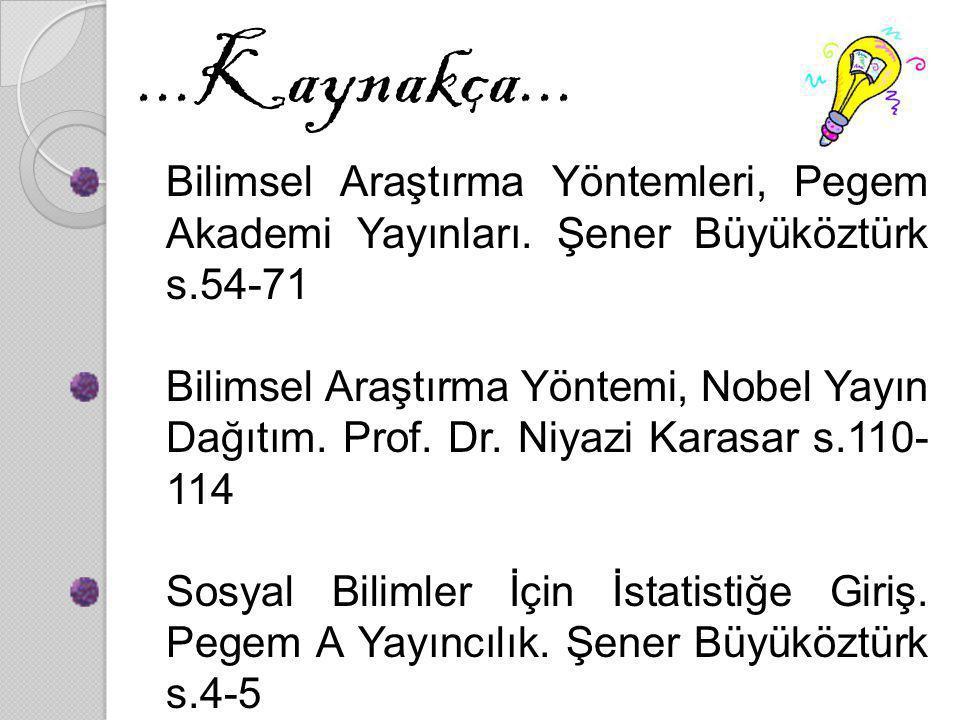 ...Kaynakça... Bilimsel Araştırma Yöntemleri, Pegem Akademi Yayınları. Şener Büyüköztürk s.54-71.