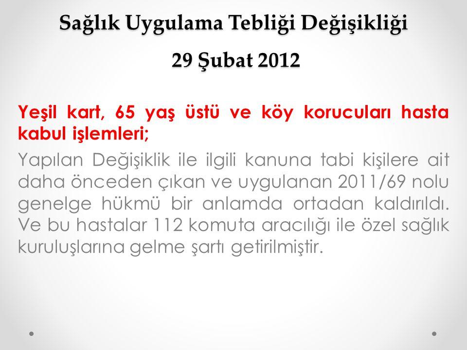Sağlık Uygulama Tebliği Değişikliği 29 Şubat 2012