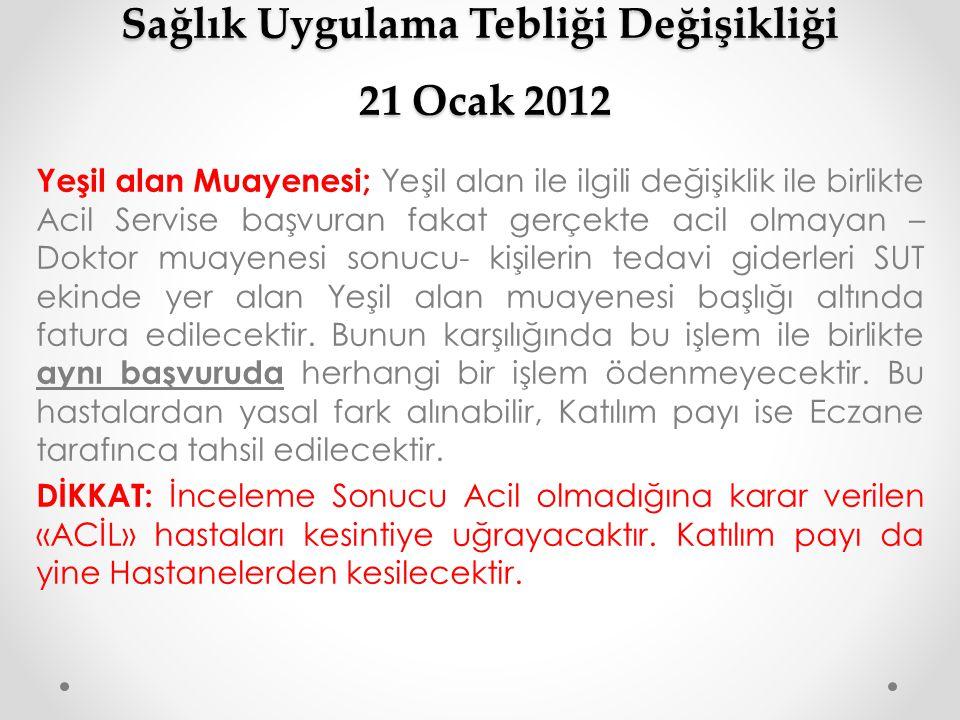 Sağlık Uygulama Tebliği Değişikliği 21 Ocak 2012