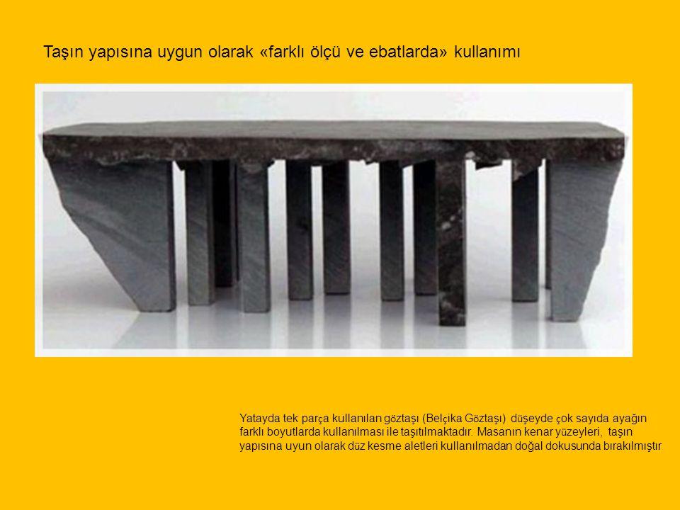 Taşın yapısına uygun olarak «farklı ölçü ve ebatlarda» kullanımı