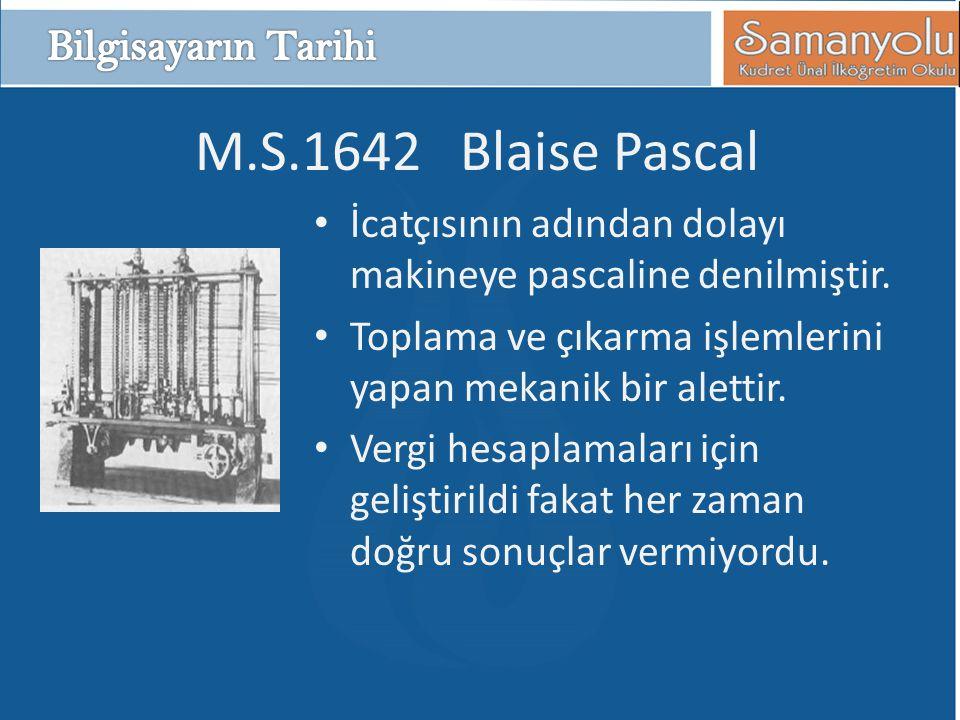 M.S.1642 Blaise Pascal Bilgisayarın Tarihi