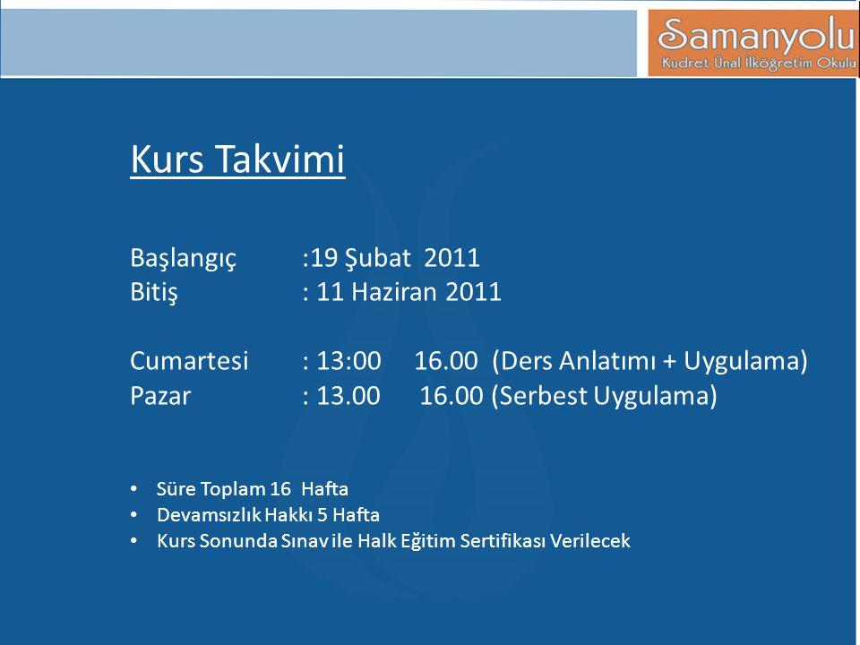 Kurs Takvimi Başlangıç :19 Şubat 2011 Bitiş : 11 Haziran 2011