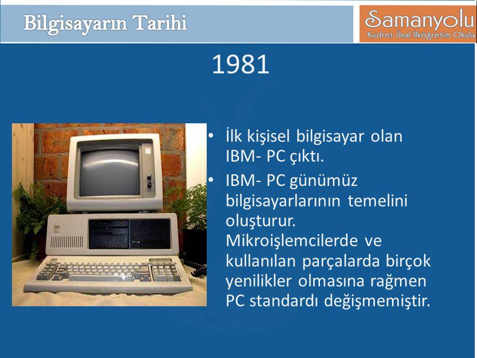 1981 Bilgisayarın Tarihi İlk kişisel bilgisayar olan IBM- PC çıktı.