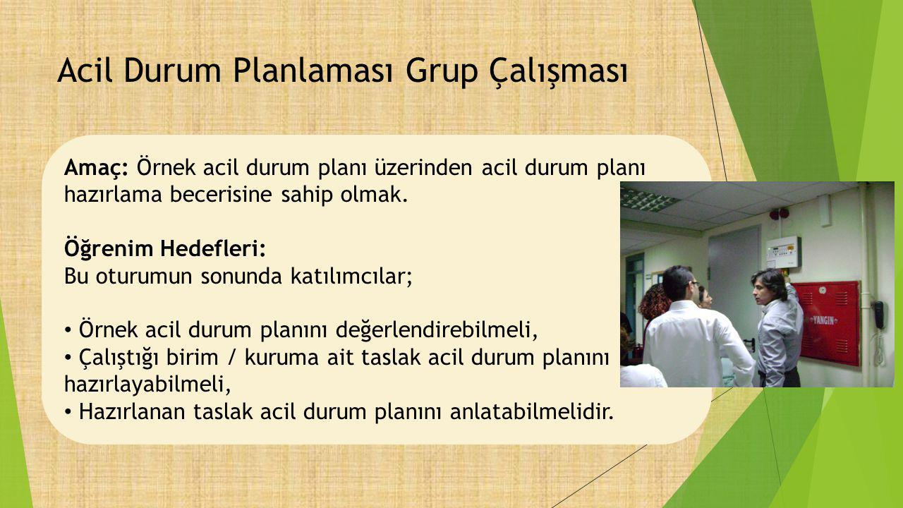 Acil Durum Planlaması Grup Çalışması