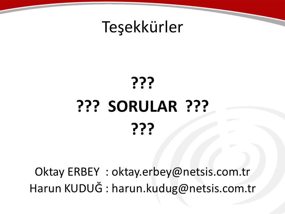 Teşekkürler . . SORULAR . Oktay ERBEY : oktay.erbey@netsis.com.tr.