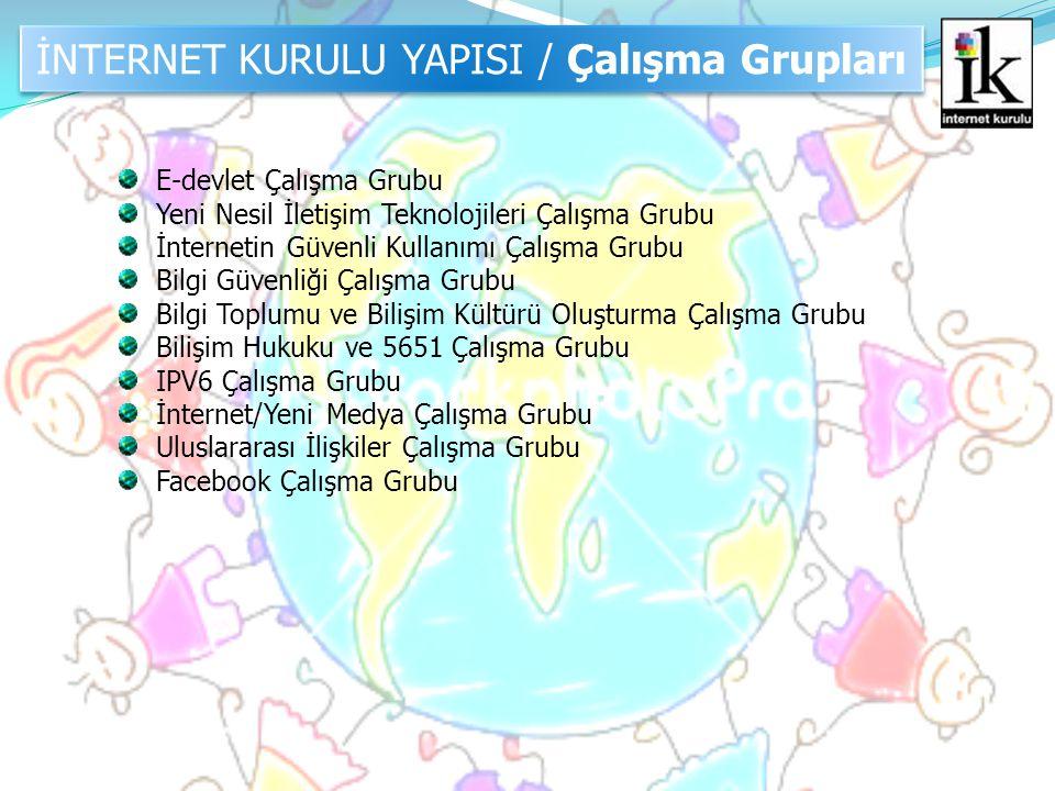 İNTERNET KURULU YAPISI / Çalışma Grupları