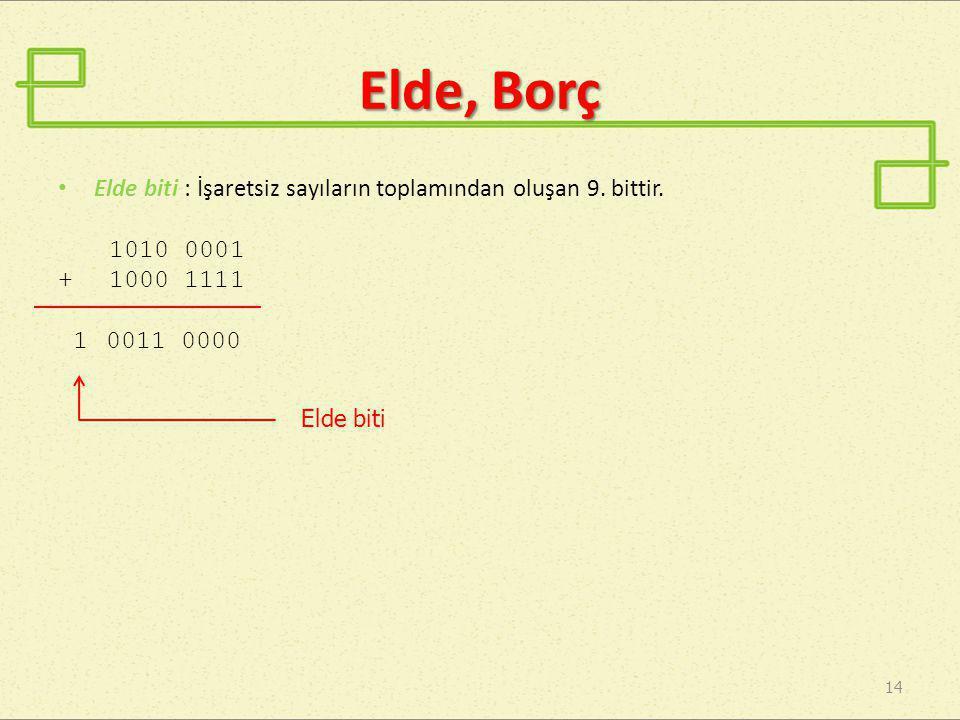 Elde, Borç Elde biti : İşaretsiz sayıların toplamından oluşan 9. bittir. 1010 0001. + 1000 1111.