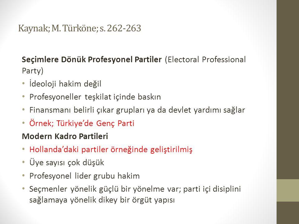 Kaynak; M. Türköne; s. 262-263 Seçimlere Dönük Profesyonel Partiler (Electoral Professional Party) İdeoloji hakim değil.