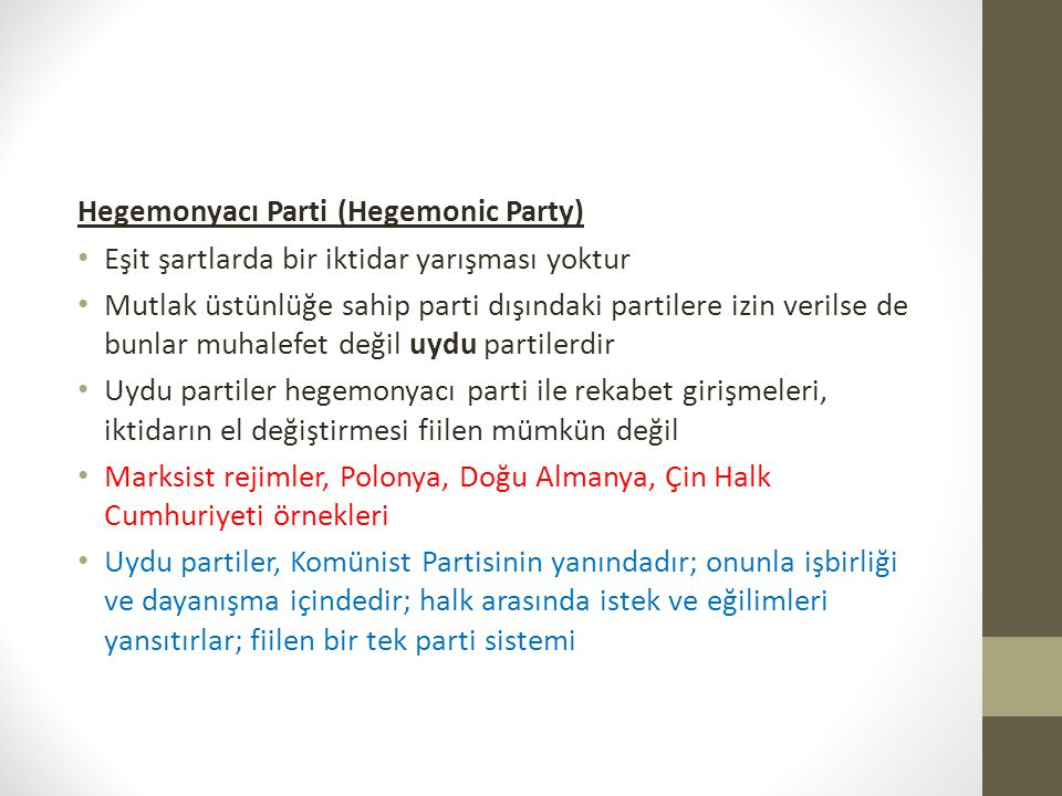 Hegemonyacı Parti (Hegemonic Party)