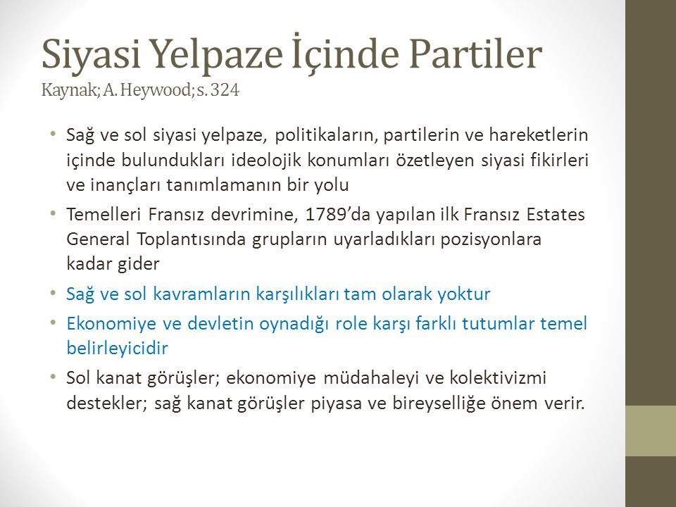 Siyasi Yelpaze İçinde Partiler Kaynak; A. Heywood; s. 324