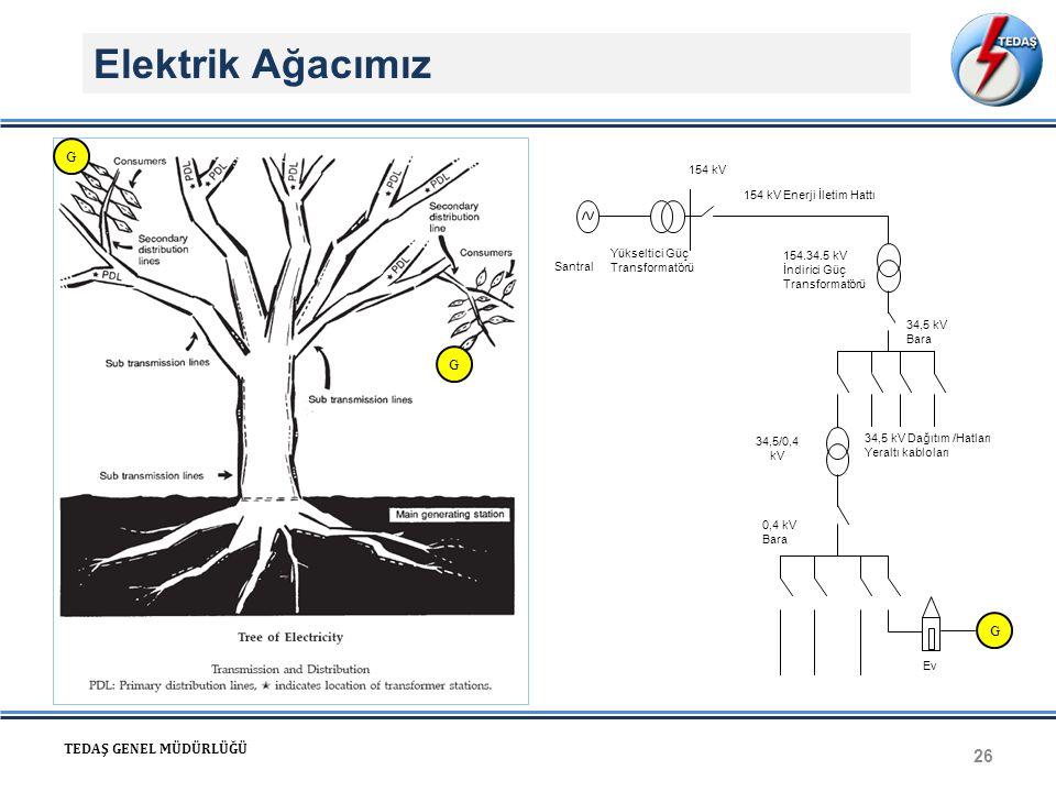 Elektrik Ağacımız G G G TEDAŞ GENEL MÜDÜRLÜĞÜ 154 kV