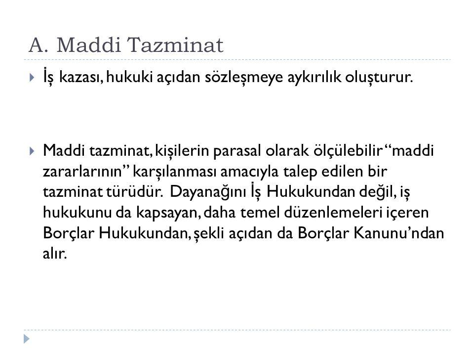 A. Maddi Tazminat İş kazası, hukuki açıdan sözleşmeye aykırılık oluşturur.