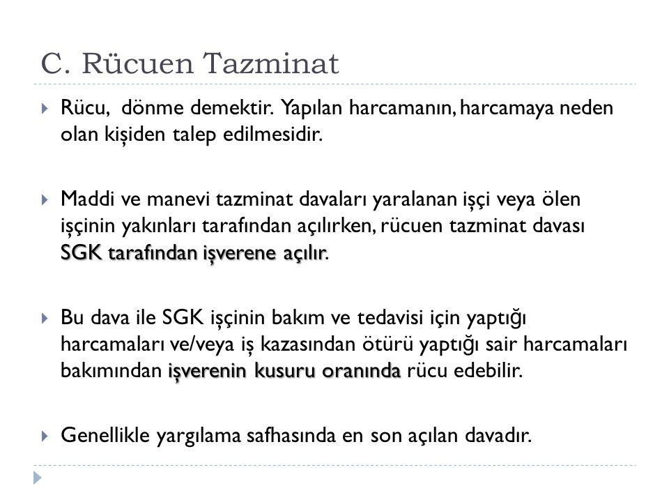 C. Rücuen Tazminat Rücu, dönme demektir. Yapılan harcamanın, harcamaya neden olan kişiden talep edilmesidir.