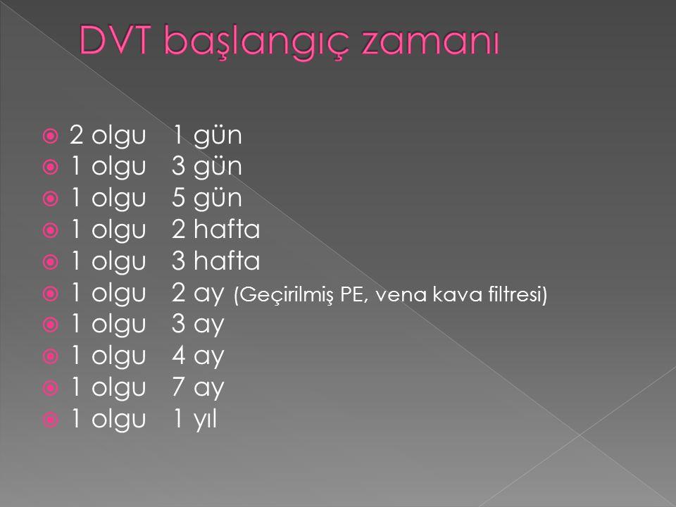 DVT başlangıç zamanı 2 olgu 1 gün 1 olgu 3 gün 1 olgu 5 gün