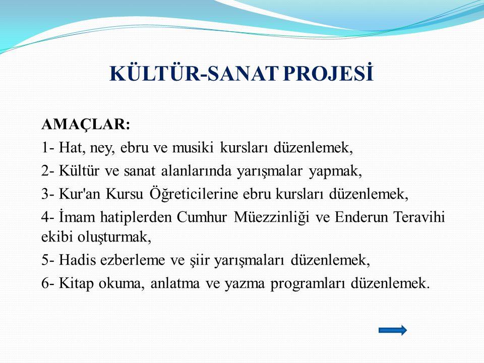 KÜLTÜR-SANAT PROJESİ AMAÇLAR: