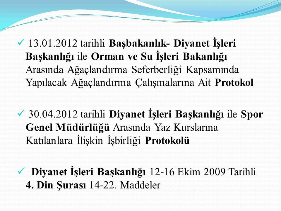 13.01.2012 tarihli Başbakanlık- Diyanet İşleri Başkanlığı ile Orman ve Su İşleri Bakanlığı Arasında Ağaçlandırma Seferberliği Kapsamında Yapılacak Ağaçlandırma Çalışmalarına Ait Protokol