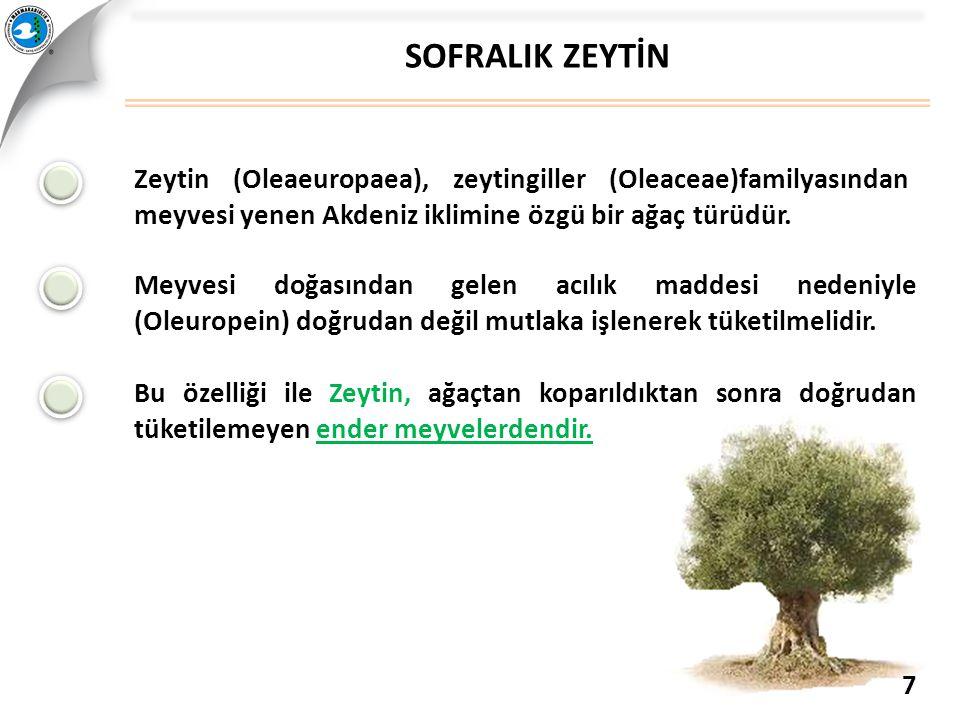 SOFRALIK ZEYTİN Zeytin (Oleaeuropaea), zeytingiller (Oleaceae)familyasından meyvesi yenen Akdeniz iklimine özgü bir ağaç türüdür.