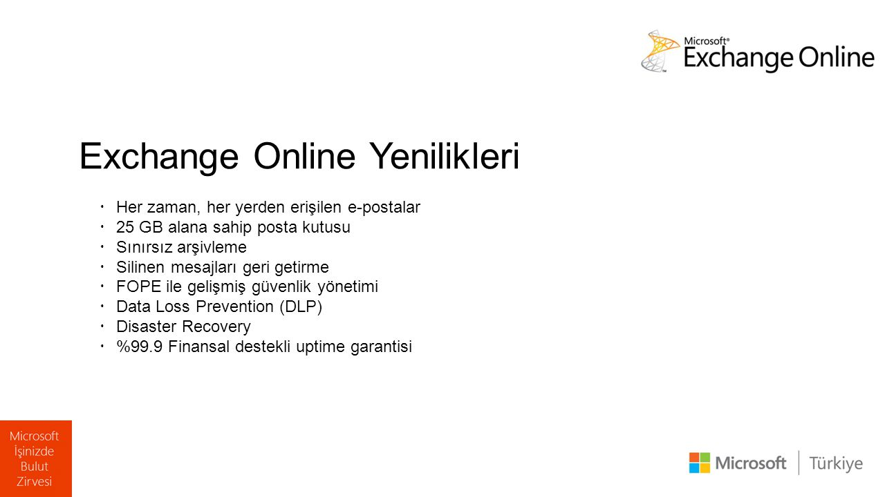 Exchange Online Yenilikleri