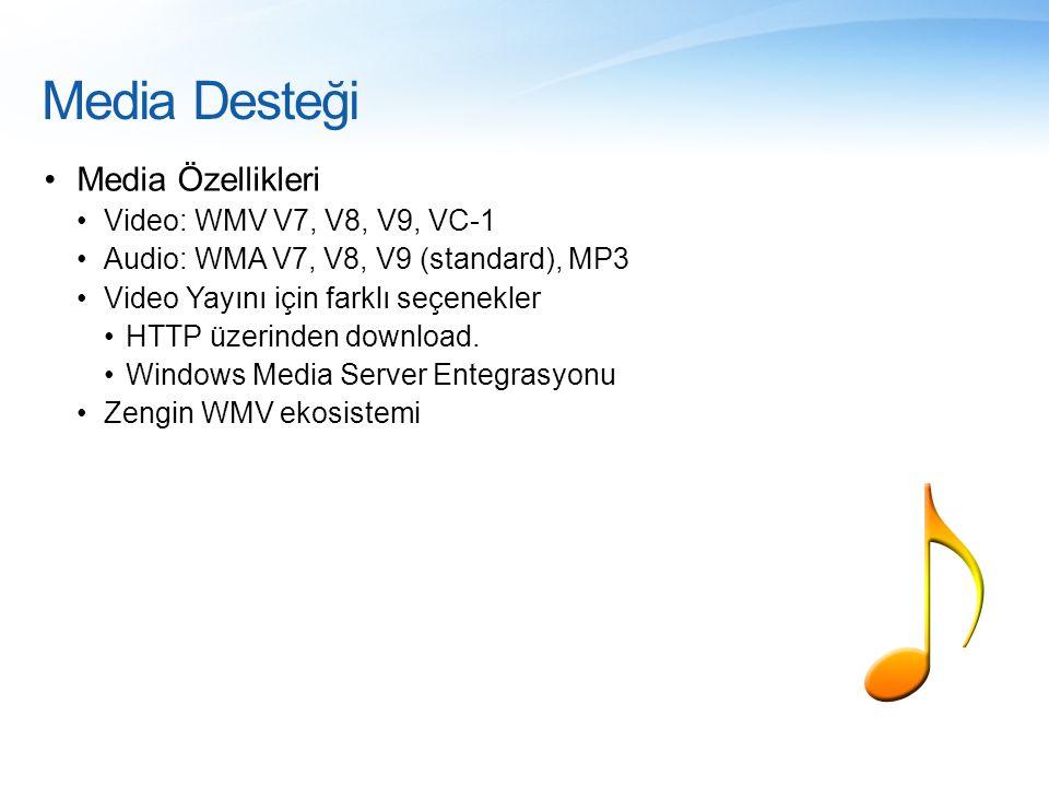 Media Desteği Media Özellikleri Video: WMV V7, V8, V9, VC-1