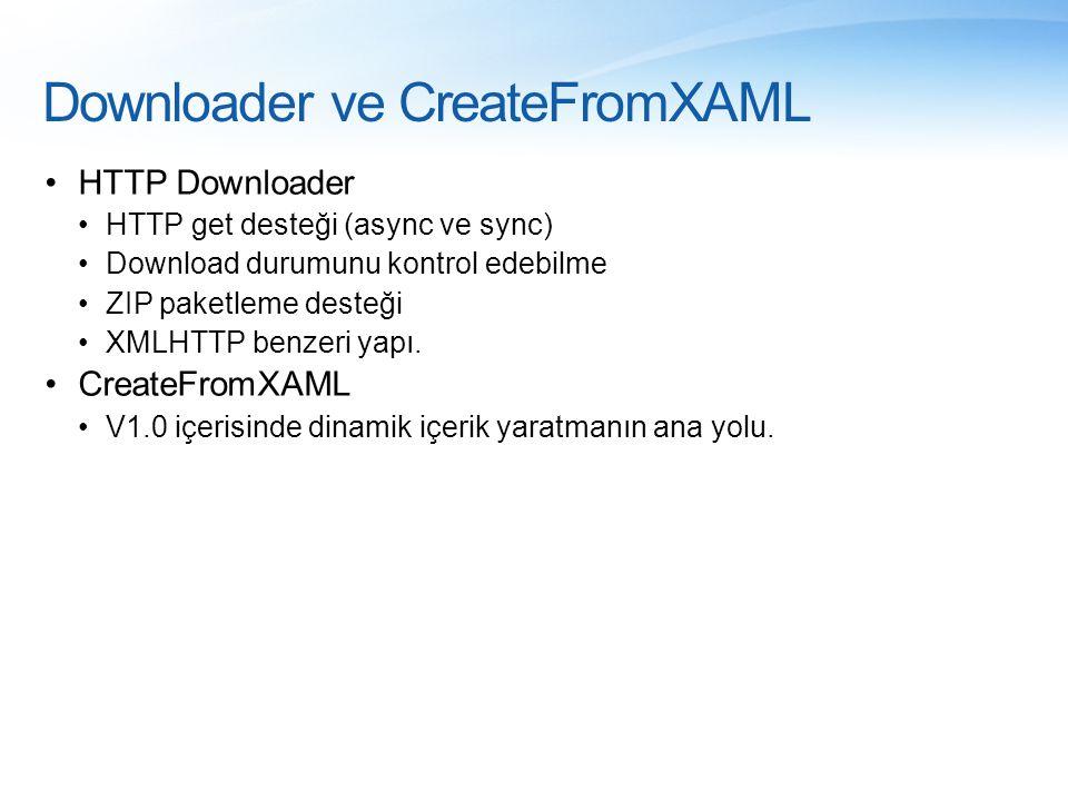 Downloader ve CreateFromXAML