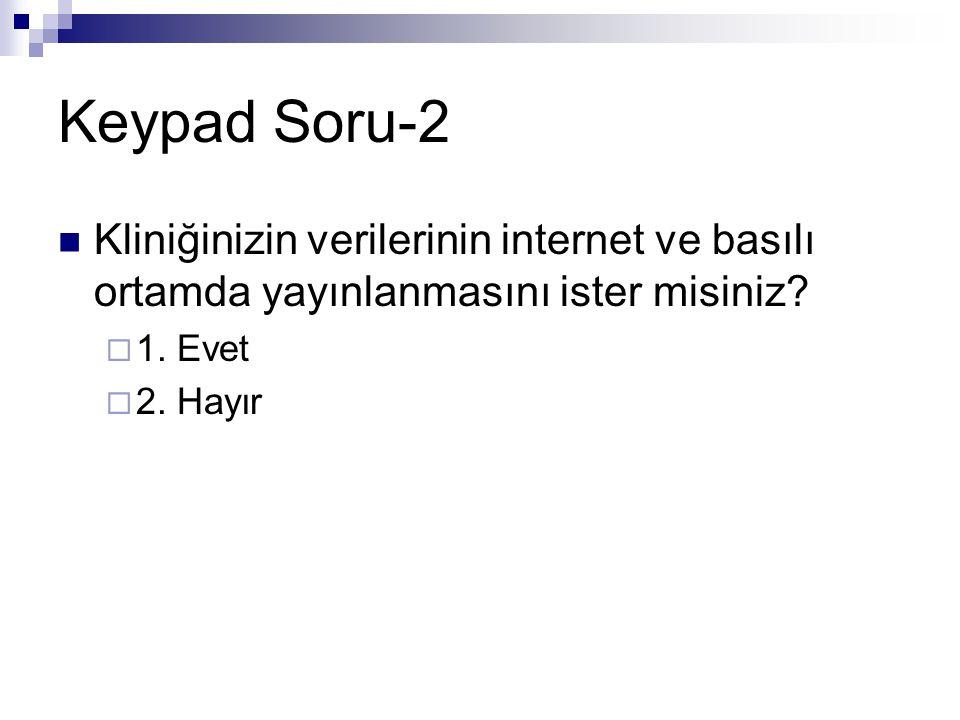 Keypad Soru-2 Kliniğinizin verilerinin internet ve basılı ortamda yayınlanmasını ister misiniz 1. Evet.