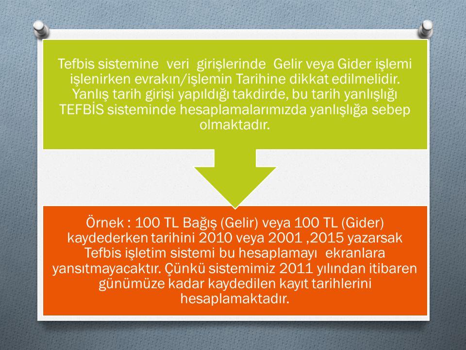 Örnek : 100 TL Bağış (Gelir) veya 100 TL (Gider) kaydederken tarihini 2010 veya 2001 ,2015 yazarsak Tefbis işletim sistemi bu hesaplamayı ekranlara yansıtmayacaktır. Çünkü sistemimiz 2011 yılından itibaren günümüze kadar kaydedilen kayıt tarihlerini hesaplamaktadır.