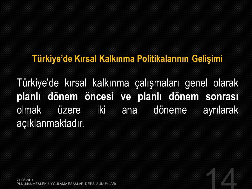 Türkiye'de Kırsal Kalkınma Politikalarının Gelişimi