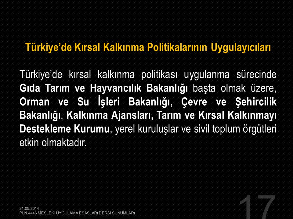 Türkiye'de Kırsal Kalkınma Politikalarının Uygulayıcıları