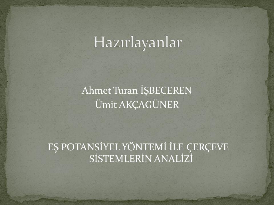 Hazırlayanlar Ahmet Turan İŞBECEREN Ümit AKÇAGÜNER EŞ POTANSİYEL YÖNTEMİ İLE ÇERÇEVE SİSTEMLERİN ANALİZİ