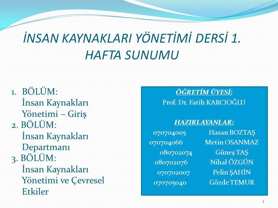 İNSAN KAYNAKLARI YÖNETİMİ DERSİ 1. HAFTA SUNUMU