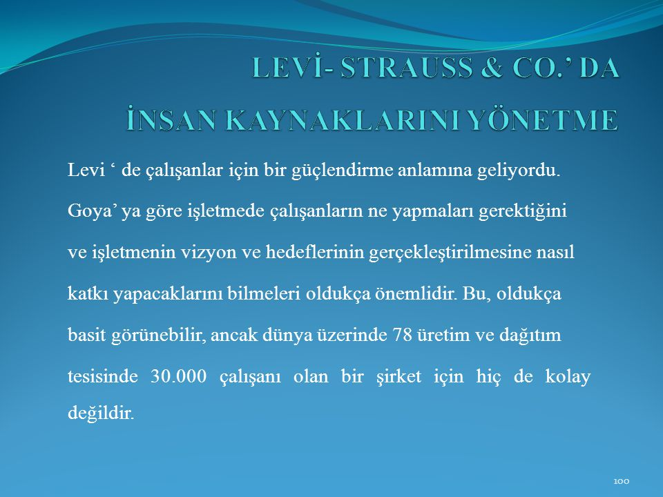LEVİ- STRAUSS & CO.' DA İNSAN KAYNAKLARINI YÖNETME