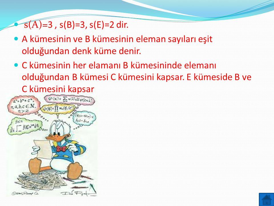 s(A)=3 , s(B)=3, s(E)=2 dir. A kümesinin ve B kümesinin eleman sayıları eşit olduğundan denk küme denir.